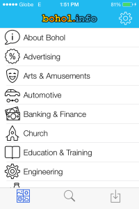 Screenshot of the mobile app for Bohol.Info showing the main page