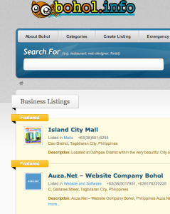Screenshot of the Bohol.Info website where Boholano business owners can include their business information for free.